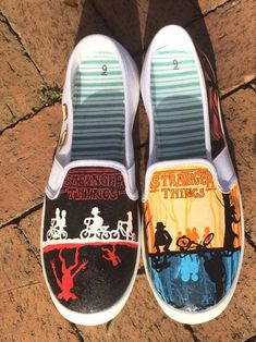 Stranger Things inspired canvas shoes, made to order in any size, adult and kids - sale ! Stranger Things inspired canvas shoes, made to order in any size, adult and kids Disney Painted Shoes, Painted Canvas Shoes, Custom Painted Shoes, Painted Sneakers, Disney Shoes, Hand Painted Shoes, Painted Vans, Disney Vans, Vans Noir