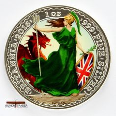 2016 Britannia Welsh Dragon coloured Silver bullion coin comes in an individual Presentation case with Certificate with Certificate.