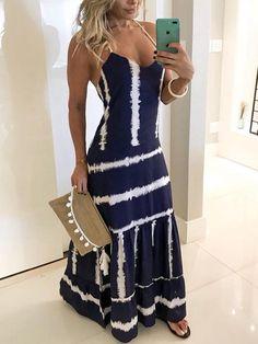Shop Tie Dye Print Spaghetti Strap Maxi Dress – Discover sexy women fashion at Boutiquefeel Halter Maxi Dresses, Bodycon Dress, Dresses Dresses, Floral Dresses, Elegant Dresses, Pretty Dresses, Beautiful Dresses, Wedding Dresses, 1950s Dresses