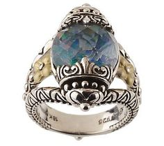 Barbara Bixby Sterling/18K Mosaic Opal Triplet Ring