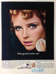 Bonne Bell Medicated Cosmetics Ad, 1967 Vintage Makeup Ads, Retro Makeup, Vintage Ads, Vintage Magazines, Vintage Glamour, Vintage Beauty, Bell Cosmetics, Bonne Bell, Cheryl Tiegs