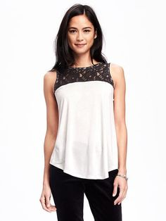 LACE-YOKE SWING TANK FOR WOMEN Old Navy, fashion, clothing, clothes, style, fall fashion