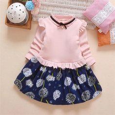 Pink floral kid princess dress