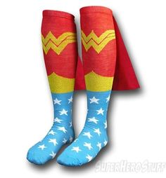 Wonder Woman Socks w/Capes Jr Womens Knee-Highs