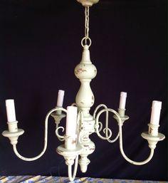 HANGING CHALK PAINT OLIVE WOOD METAL LIGHT LAMP FRENCH VINTAGE JUMBO SHABBY CHIC