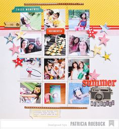 Summer Memories | American Crafts - Scrapbook.com - Machine stitch a grid and use it to house 12 small square photos.
