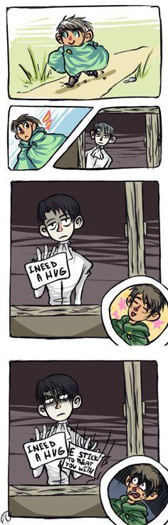 :snk: hug by tinycalcium.deviantart.com on @deviantART Aw... Almost, Eren. Almost.