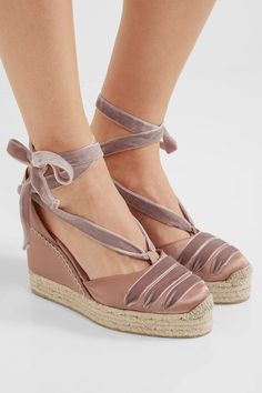 Wedge heel measures approximately 80mm/ 3 inches Antique-rose satin and velvet Ties at ankle Imported