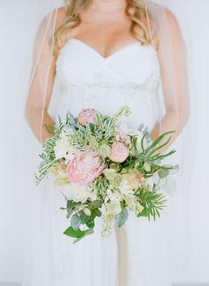 Peony + greenery bridal #bouquet | Photography: Austin Gros Wedding Photography - austingros.com  Read More: http://www.stylemepretty.com/2014/04/25/intimate-florida-beach-destination-wedding/
