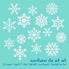 snowflake clip art, clipart snowflakes, holiday christmas winter images for personal use and small commercial use - 009