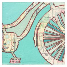 Bike Twin Cities - Archival Print of map painting with vintage map of Minneapolis & St Paul, Minnesota via Etsy