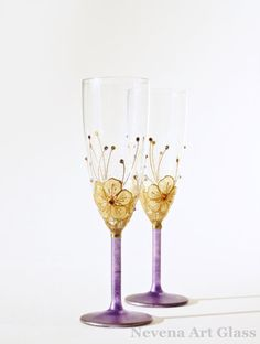 Wedding Glasses Hand Painted Champagne Glasses by NevenaArtGlass, $52.00 #bridal #wedding #wedding_glasses #champagne