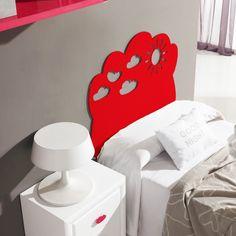 cabecero cama infantil nube rojo