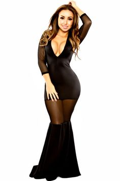 Cheap Sexy V Neck Three Quarter Sleeves Mesh Hollow-out Patchwork Black Polyester Mermaid Maxi Dress on Luulla