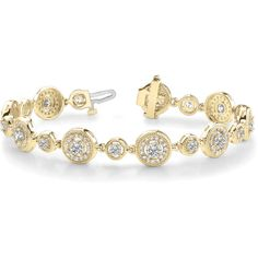 Bracelet - Round Diamond Vintage Halo Yellow Gold Bracelet 3.0 ct. -... (21 640 PLN) ❤ liked on Polyvore featuring jewelry, bracelets, 14k gold bangles, 14k gold jewelry, yellow diamond jewelry, vintage gold bangle and vintage bangle