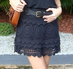 Black Crochet Skirt