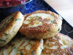 Garlicky Mashed Potato Cakes...uses left over mashed potatoes, garlic, cream cheese, etc.