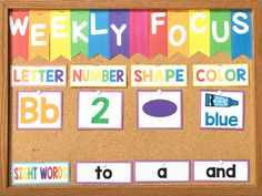 This is my preschool focus wall! This preschool bulletin board shows our letter, number, shape, color, and sight words of the week. You can use this board during your preschool circle time and you won't believe the results! Click here to read more about how this weekly focus wall has helped my preschoolers or download the headers and printables for yourself! #childcareideas