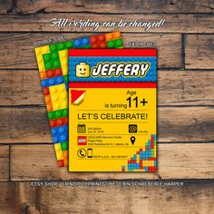 Lego Invitation DIGITAL FILE Choose your own by ErinDipityPrints