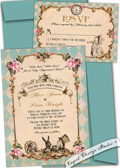 Alice in wonderland wedding invitations. Mad Hatter Tea Party Wedding. Queen of Hearts Wedding invitations, personalized by Cupid Design Studio.