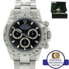 05b944919c1c 2009 Rolex Daytona Cosmograph Steel Chrono 116520 Engraved Black Dial Watch  B P