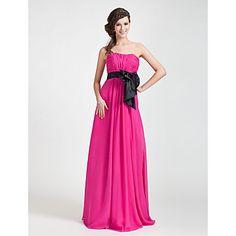 A-line Strapless Floor-length Chiffon Bridesmaid Dress – USD $ 128.69