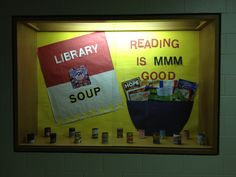 School library bulletin board and could work for books about food, cooking, restaurants, etc.