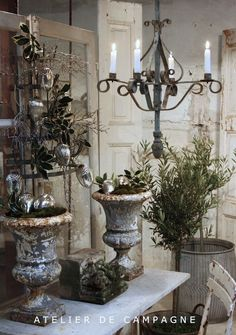 White & Greens for Christmas--Oh and chippy urns, patina, architectural salvage, and a cool chandy. French Country Christmas, French Country House, Vintage Christmas, French Cottage, Rustic Christmas, Wrought Iron Chandeliers, Rustic Chandelier, French Decor, French Country Decorating