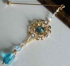 Aquamarine Moonlight Crystal and Gold Dangle by jewels4hijabs, $9.00