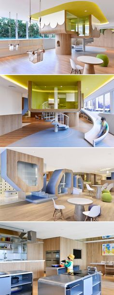 Stunning Kids Playground Design Idea 148 A good office interior design will make you feel comfortable to do your daily job. Today an office interior design is important too as same as a home interior. Kindergarten Interior, Kindergarten Design, Office Interior Design, Office Interiors, Design D'espace Public, Ecole Design, Playground Design, Library Design, Classroom Design