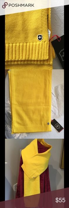 🌼VICTORINOX ESSENTIAL Bright Yellow Scarf🌼 NIP Victorinox Essential Scarf. Brand new with original package and tissue . Length 66 inches by 10 inches wide. Soft beautiful knit 90% cotton, 10% mercerized wool. Golden yellow pop of color for any coat or jacket. Victorinox Accessories Scarves & Wraps