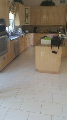 Kitchen tile floor dirty grout lines Holmdel NJ