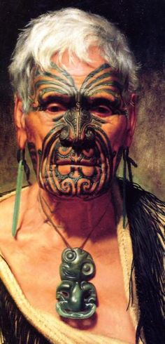 New Zealand | Te Aho: a noted Waikato warrior | Charles Goldie (New Zealand history painter and portraitist; 1870 - 1947). Oil on Canvas. 1902