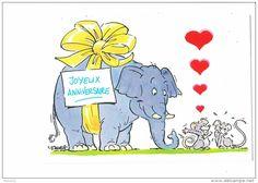 Illustration D. Fages - joyeux anniversaire - éléphant souris rat - coeur -