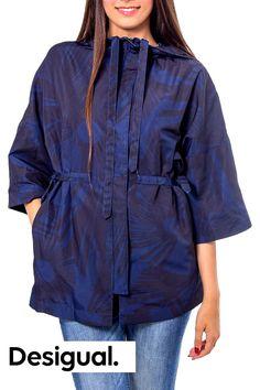 Spring blue Leaf print jacket Blue Leaves, Womens Parka, Jackets For Women, Clothes For Women, Print Jacket, Dark Blue, Windbreaker, Raincoat, Kimono
