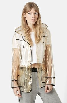 Topshop Gold Glitter Transparent Plastic Rain Jacket available at #Nordstrom