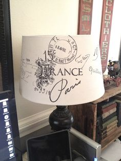 French Script Lampshade - Thrift store lampshade with graphics taped inside and traced with thin sharpie on outside. you can get all kinds of fonts and graphics off the web. Turned out great. I did stain it with tea afterwards to get a vintage look. Paris Rooms, Paris Bedroom, Paris Decor, Paris Theme, French Decor, French Country Decorating, French Script, Decoupage, Outdoor Light Fixtures