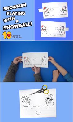 Snowmen Playing With a Snowball, Diy Abschnitt, Preschool Christmas Crafts, Winter Crafts For Kids, Winter Kids, Christmas Activities, Diy For Kids, Holiday Crafts, Activities For Kids, Diy Birthday Gifts For Dad, 5 Minute Crafts Videos