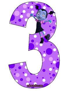 Numeros de Vampirina para descargar e imprimir   Mi Barquito Girls 3rd Birthday, Kids Birthday Themes, 3rd Birthday Parties, Vampire Party, Halloween Iii, Good Night Greetings, Birthday Party Centerpieces, Bee Theme, Disney Diy