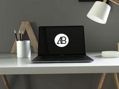 MacBook Pro in Home Office PSD Mockup