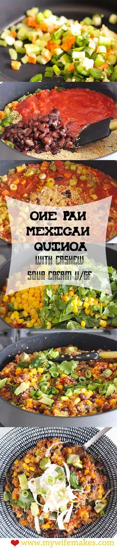 100% Vegan & Gluten-Free Recipe for One-Pan Mexican Quinoa - all done in under 30 minutes! Topped with homemade cashew sour cream. Yum! #vegan #veganfood #vegetarian #glutenfree #recipe #cooking