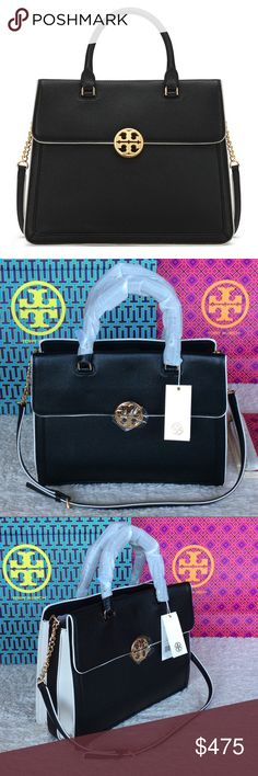 """NEW TORY BURCH DUET CHAIN CONVERTIBLE SATCHEL Authentic. Brand new with tags and dust bag. PLEASE NO TRADE. THE PRICE IS FIRM.  Ladylike polish with a modern edge: Duet Chain Convertible Satchel is a sharply tailored silhouette with contrast-color detailing. Made of pebbled leather, it has a roomy double-gusset interior, a domed logo medallion, a top handle (4.18"""") and a chain-adorned adjustable strap (15.75"""") It's the perfect refined finish to any look. Magnetic snap closure 1 interior…"""