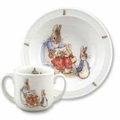 Porcelain Baby Dish Set - Peter Rabbit and Family. Made in Germany. Food- and dishwasher-safe. $29.95
