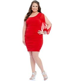 Jodi Kristopher Plus One-Sleeve Beaded Cuff Dress #Dillards