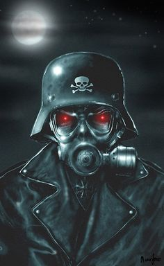 Evil Soldier by Marcus Jones Undead Zombie w Gas Mask Canvas Art Print – moodswingsonthenet
