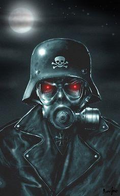 Evil Soldier by Marcus Jones Undead Zombie w Gas Mask Canvas Art Print