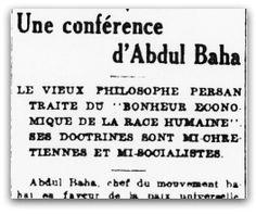 Une Conference d'Abdu'l-Bahá