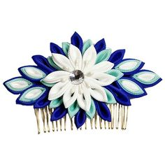 Bridal Headdress Pageant Blue White Flower Comb Jewelry Chinese... ($12) ❤ liked on Polyvore featuring accessories, hair accessories, bridal comb, bride hair comb, bridal flower hair accessories, bridal hair accessories and hair combs