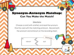 Day 20 Freebie - Synonym-Antonym Matchup (students will match each synonym to its correct antonym; recording sheet and answer key included)