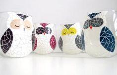owl painted wine glasses